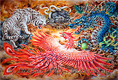 Kayomi, REALISTIC ANIMALS, paintings, tiger, dragon, FourHeavenlyBeasts_M, USKH62,#A# realistische Tiere, realista, illustrations, pinturas