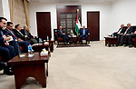 Palestinian President, Mahmoud Abbas, meets with the accredited consuls to Palestine in the West Bank city of Ramallah, on February 28, 2018. Photo by Osama Falah