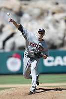 Joe Nathan of the Minnesota Twins during a 2007 MLB season game against the Los Angeles Angels at Angel Stadium in Anaheim, California. (Larry Goren/Four Seam Images)
