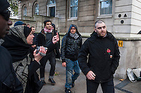 EDL supporters in Westminster. London 27-10-12 Supporters of the far right English Defence League (EDL) in Westminister following a ban on their intended protest in Waltham Forest.