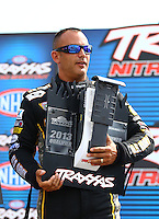 Aug. 31, 2013; Clermont, IN, USA: NHRA top fuel dragster driver Tony Schumacher during qualifying for the US Nationals at Lucas Oil Raceway. Mandatory Credit: Mark J. Rebilas-
