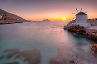 The sunset from the port of Aegiali in Amorgos island, Greece