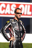 Nov 11, 2010; Pomona, CA, USA; NHRA pro stock motorcycle rider Matt Smith during qualifying for the Auto Club Finals at Auto Club Raceway at Pomona. Mandatory Credit: Mark J. Rebilas-