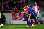 Angel Correa of Atletico de Madrid fights for the ball with Pierre Bengtsson of FC Copenhague during the UEFA Europa League 2017-18 Round of 32 (2nd leg) match between Atletico de Madrid and FC Copenhague at Wanda Metropolitano  on February 22 2018 in Madrid, Spain. Photo by Diego Souto / Power Sport Images