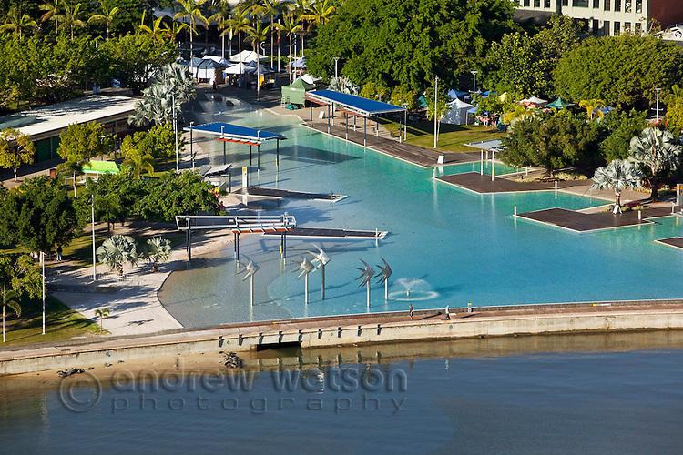 Aerial view of Esplanade lagoon.  Cairns, Queensland, Australia.