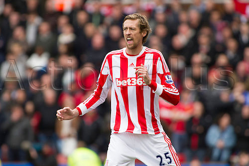 14.04.2013 Stoke, England.  Stoke City's Peter Crouch during the Premier League game between Stoke City and Manchester United from the Britannia Stadium.