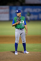 Lexington Legends relief pitcher Mark McCoy (22) looks to his catcher for the sign against the Kannapolis Intimidators at Kannapolis Intimidators Stadium on July 14, 2016 in Kannapolis, North Carolina.  The Kannapolis Intimidators defeated the Lexington Legends 4-2.  (Brian Westerholt/Four Seam Images)