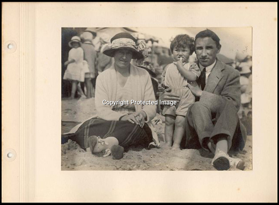 BNPS.co.uk (01202) 558833<br /> Picture: Alex Statters<br /> <br /> Alex Statters at a beach with his wife Bessie and son Charles<br /> <br /> A collection of portraits by an amateur artist who sent his paintings to famous subjects for them to sign has been unearthed. Self-taught Alex Statters spent nearly 40 years at his hobby, painting the great and important figures from photographs then trying to get them signed. The painter often had to wait as long as a year to get a reply. Statters was born in the early 1890s and after a working life in Newcastle settled in Southport, Merseyside. It is thought he died in the early 1960s. The collection has passed down through his family to his grandchildren who until recently were only aware of a few of the portraits that were hung in the family home.