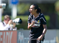 Marta Celebrates an assist during the FC Gold's victory over the Philadelphia Independence 4-0, to capture the 2010 WPS Championships in Hayward, Calif., Sunday, September 26, 2010.
