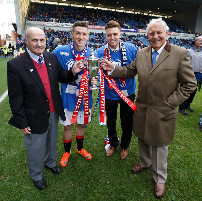 The old and the new Rangers generation: Fraser Aird and Lewis Macleod flanked by Johnny Hubbard and Bobby Brown