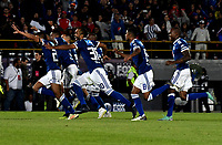 BOGOTÁ - COLOMBIA, 20-01-2019: Los jugadores de Millonarios celebran la victoria sobre Independiente Santa Fe al término del partido entre Independiente Santa Fe y Millonarios, por el Torneo Fox Sports 2019, jugado en el estadio Nemesio Camacho El Campin de la ciudad de Bogota. / The players of Millonarios celebrate the victory over Independiente Santa Fe  at the end of the match between Independiente Santa Fe and Millonarios, for the Fox Sports Tournament 2019, played at the Nemesio Camacho El Campin stadium in the city of Bogota. Photo: VizzorImage / Luis Ramírez / Staff.