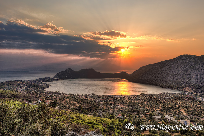 Sunset at Vouliagmeni lake in Perachora, Greece