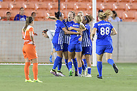 Houston, TX - Sunday Sept. 11, 2016: Kyah Simon, Elise Krieghoff celebrates scoring, Brittany Ratcliffe, Kathryn Schoepfer during a regular season National Women's Soccer League (NWSL) match between the Houston Dash and the Boston Breakers at BBVA Compass Stadium.