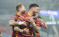 Picture by Allan McKenzie/SWpix.com - 15/03/2018 - Rugby League - Betfred Super League - Huddersfield Giants v Hull KR - John Smith's Stadium, Huddersfield, England - Huddersfield's Oliver Roberts is congratulated ons coring a try against Hull KR.