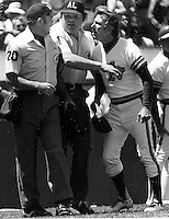 A's manager Billy Martin agrues with umpires..(1981 photo by Ron Riesterer)