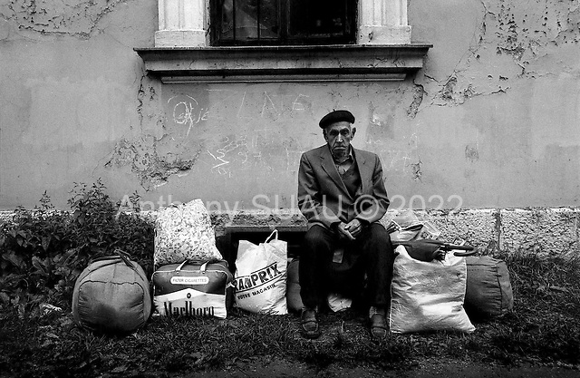 Travnic, Bosnia<br /> 1993<br /> <br /> Bosnian refugees, fleeing the ethnic war in the former Yugoslavia, arrive at an old school house to sleep.