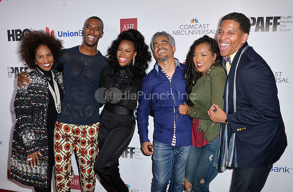 LOS ANGELES, CA- FEBRUARY 12: Pauletta Washington, Nic Few, Sol Aponte, Teyonah Parris, Jennia Fredrique Aponte, Nathan Hale Williams at the &quot;90 Days&quot; Movie Premiere at the Pan African Film Festival at the Cinemark Baldwin Hills in Los Angeles, California on February11, 2017. <br /> Credit: Koi Sojer/Snap'N U Photos/MediaPunch