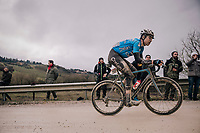 Cyclocross world champion Wout Van Aert (BEL/Veranda's Willems-Crelan) racing incredibly strong in his very first Strade Bianche, will eventually finish 3rd<br /> <br /> 12th Strade Bianche 2018<br /> Siena &gt; Siena: 184km (ITALY)