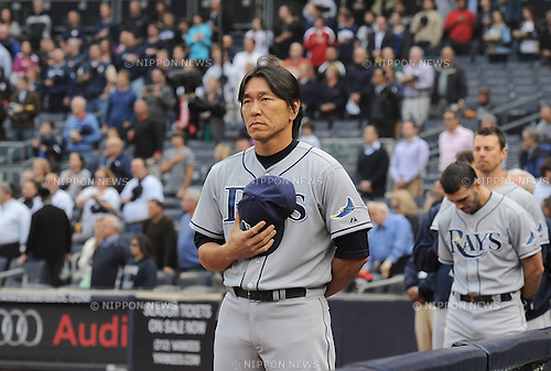 Hideki Matsui (Rays),.JUNE 5, 2012 - MLB :.Hideki Matsui of the Tampa Bay Rays listens to the national anthem before the game against the New York Yankees at Yankee Stadium in Bronx, New York, United States. (Photo by AFLO)