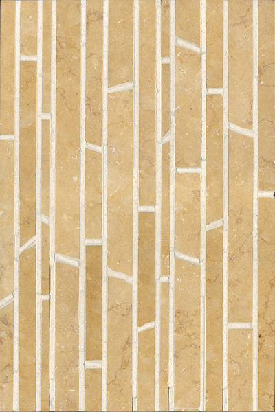 Bamboo, a natural stone mosaic shown in Ivory Cream and Jerusalem Gold (h), is part of the Metamorphosis Collection by Sara Baldwin for New Ravenna Mosaics.