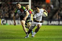 Manusamoa Tuilagi of Leicester Tigers makes a break during the Aviva Premiership match between Harlequins and Leicester Tigers at the Twickenham Stoop on Friday 18th April 2014 (Photo by Rob Munro)