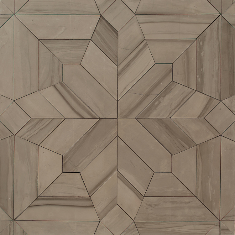 Dominic, a hand-cut stone mosaic, shown in honed Driftwood, is part of the Semplice™ collection for New Ravenna.