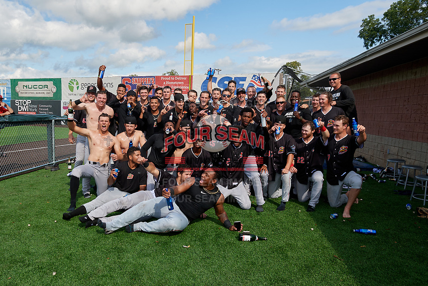 Batavia Muckdogs team photo after clinching the Pinckney Division Title during a NY-Penn League game against the Auburn Doubledays on September 2, 2019 at Falcon Park in Auburn, New York.  Batavia defeated Auburn 7-0 to clinch the Pinckney Division Title.  (Mike Janes/Four Seam Images)