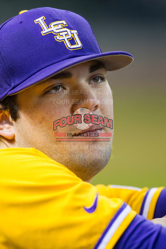 LSU Tigers pitcher Jake Godfrey (29) in the dugout during the Houston College Classic against the Nebraska Cornhuskers on March 8, 2015 at Minute Maid Park in Houston, Texas. LSU defeated Nebraska 4-2. (Andrew Woolley/Four Seam Images)