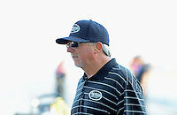 May 18, 2012; Topeka, KS, USA: NHRA team owner Alan Johnson during qualifying for the Summer Nationals at Heartland Park Topeka. Mandatory Credit: Mark J. Rebilas-