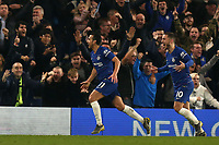 Pedro of Chelsea celebrates scoring the first goal during Chelsea vs Tottenham Hotspur, Premier League Football at Stamford Bridge on 27th February 2019