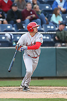Todd McDonald (20) of the Spokane Indians bats during a game against the Everett AquaSox at Everett Memorial Stadium on July 24, 2015 in Everett, Washington. Everett defeated Spokane, 8-6. (Larry Goren/Four Seam Images)