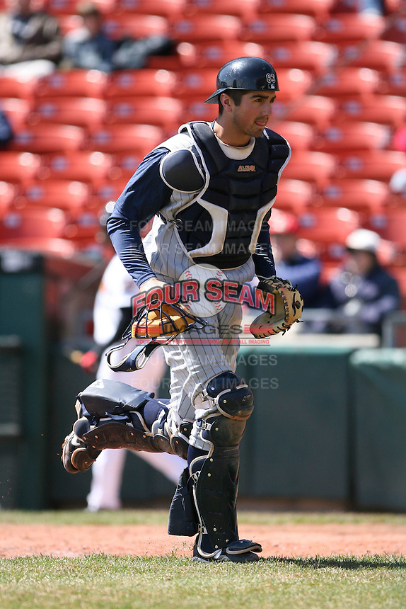 April 14th, 2008:  Catcher Nick Trzesniak (47) of the Toledo Mudhens, Class-AAA affiliate of the Detroit Tigers, during a game at Dunn Tire Park in Buffalo, NY.  Photo by:  Mike Janes/Four Seam Images
