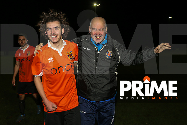 Mike Draycott of Ampthill Town (left) celebrates victory with Ampthill Town Manager Gary Maidment (right), after scoring the winning goal in a 2-1 win over Flitwick Town in the Beds Senior Trophy Quarter Final at Ampthill Stadium, Bedfordshire, England on 12 December 2015. Photo by David Horn/PRiME Media Images
