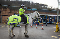 A Heavy police presence pre match during the Sky Bet League 2 match between Wycombe Wanderers and Bristol Rovers at Adams Park, High Wycombe, England on 27 February 2016. Photo by Andy Rowland.