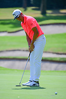 Rickie Fowler (USA) putts on 1 during round 1 of the World Golf Championships, Mexico, Club De Golf Chapultepec, Mexico City, Mexico. 3/2/2017.<br /> Picture: Golffile | Ken Murray<br /> <br /> <br /> All photo usage must carry mandatory copyright credit (&copy; Golffile | Ken Murray)