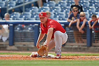 Palm Beach Cardinals first baseman Luken Baker (47) during a Florida State League game against the Charlotte Stone Crabs on April 14, 2019 at Charlotte Sports Park in Port Charlotte, Florida.  Palm Beach defeated Charlotte 5-3.  (Mike Janes/Four Seam Images)