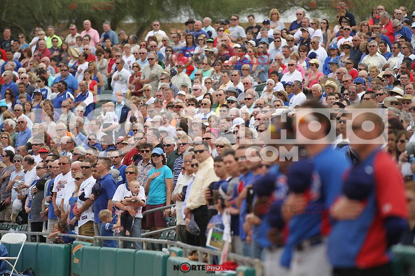 Estadio lleno durante el juego de Chicago Cubs vs Dodgers de LA. Spring Trainig 2013 y Liga del Cactus en el Kino Veterans Memorial Stadium de Tucson Arizona.