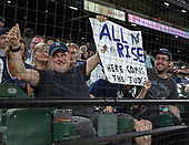 Harvey Kranzler, left, of New York and Jeffrey Kranzler, right of Silver Spring, Maryland, right, hold a sign during the New York Yankees against the Baltimore Orioles game at Oriole Park at Camden Yards in Baltimore, MD on Monday, July 9, 2018.  The Yankees won the game 10 - 2.<br /> Credit: Ron Sachs / CNP<br /> (RESTRICTION: NO New York or New Jersey Newspapers or newspapers within a 75 mile radius of New York City)