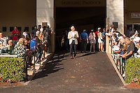 HALLANDALE BEACH, FL - FEBRUARY 04: Trainer Todd Pletcher enters the walking ring. Scenes from Gulfstream Park,  at Gulfstream Park, Hallandale Beach, FL. (Photo by Arron Haggart/Eclipse Sportswire/Getty Images)