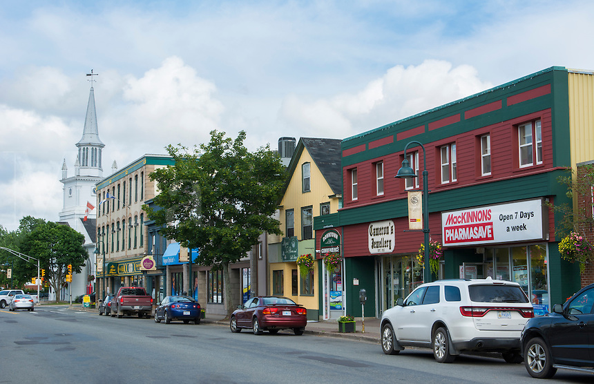 Canada Antigonish Nova Scotia traffic and shops on Main Street with cars and busy small town