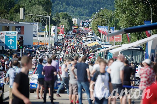 quite a crowd at the finish area<br /> <br /> 2014 Tour de France<br /> stage 11: Besançon - Oyonnax (187km)