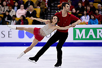 Friday, April 1, 2016: Meagan Duhamel and Eric Radford (CAN) compete in the Pairs Short Program at the International Skating Union World Championship held at TD Garden, in Boston, Massachusetts. Eric Canha/CSM