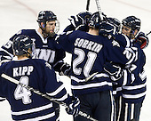 Damon Kipp (UNH - 4), Brett Kostolansky (UNH - 15), Nick Sorkin (UNH - 21), Stevie Moses (UNH - 22), Kevin Goumas (UNH - 27) - The Boston College Eagles defeated the visiting University of New Hampshire Wildcats 4-3 on Friday, January 27, 2012, in the first game of a back-to-back home and home at Kelley Rink/Conte Forum in Chestnut Hill, Massachusetts.