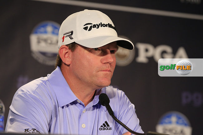 Shaun Micheel (USA) in the interview room during Tuesday's Practice Day of the 95th US PGA Championship 2013 held at Oak Hills Country Club, Rochester, New York.<br /> 6th August 2013.<br /> Picture: Eoin Clarke www.golffile.ie