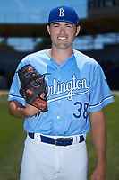 Burlington Royals pitcher Austin Lambright (38) poses for a photo prior to the game against the Greeneville Reds at Burlington Athletic Stadium on July 8, 2018 in Burlington, North Carolina. The Royals defeated the Reds 4-2.  (Brian Westerholt/Four Seam Images)