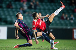 Nicola Komazec of SC Kitchee (l) trips up with Muangthong United Defender Mario Alvarez (r) during the 2017 Lunar New Year Cup match between SC Kitchee (HKG) vs Muangthong United (THA) on January 28, 2017 in Hong Kong, Hong Kong. Photo by Marcio Rodrigo Machado/Power Sport Images