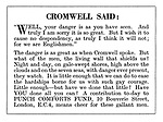 """Punch Comforts Fund ad: Cromwell said: """"Well, your danger is as you have seen...."""""""