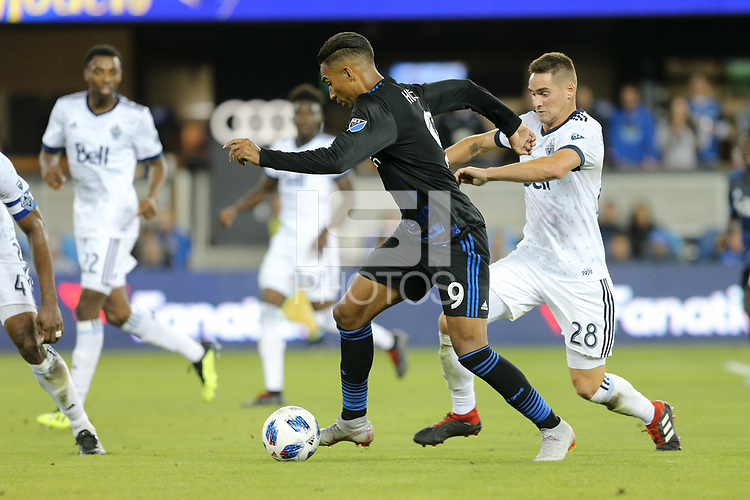 San Jose, CA - Saturday August 25, 2018: Danny Hoesen, Jake Nerwinski during a Major League Soccer (MLS) match between the San Jose Earthquakes and Vancouver Whitecaps FC at Avaya Stadium.