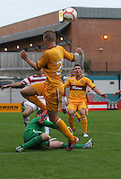 Lee Erwin unable to beat Kevin Cuthbert in the Hamilton Academical v Motherwell friendly match played at New Douglas Park, Hamilton on 24.7.12..