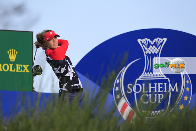 Nelly Korda of Team USA on the 8th tee during Day 1 Foursomes at the Solheim Cup 2019, Gleneagles Golf CLub, Auchterarder, Perthshire, Scotland. 13/09/2019.<br /> Picture Thos Caffrey / Golffile.ie<br /> <br /> All photo usage must carry mandatory copyright credit (© Golffile | Thos Caffrey)